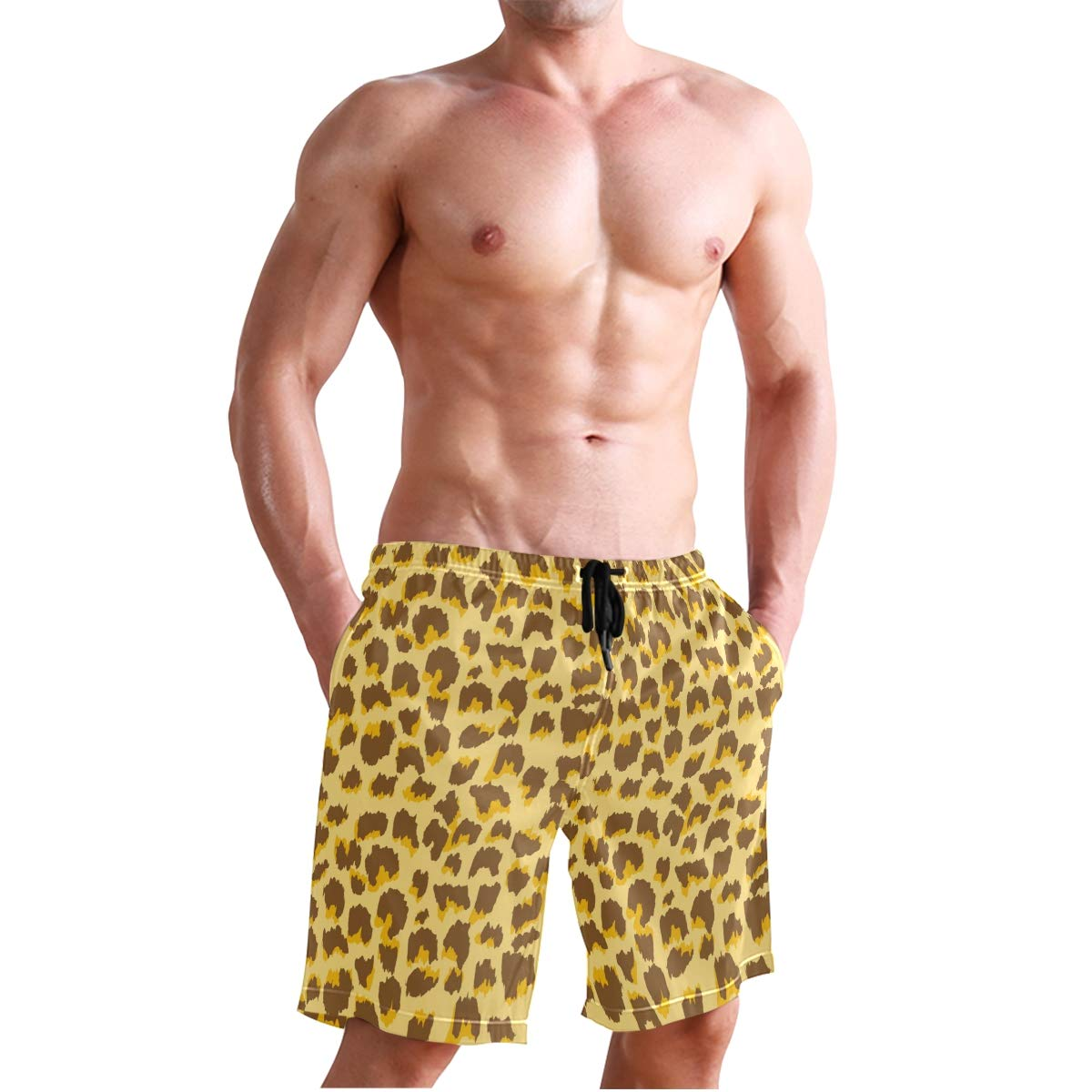 CENHOME Mens Swim Trunks Natural Color Leopard Pattern Beach Board Shorts