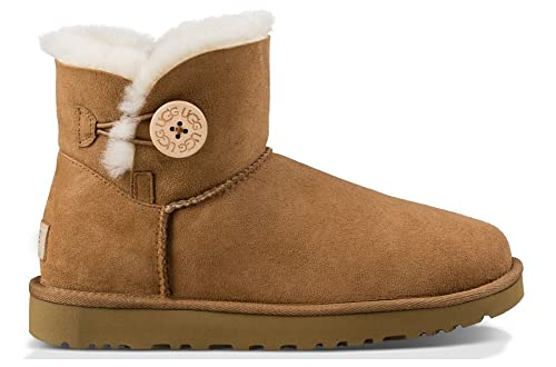 6b670eb87bf UGG Women's Mini Bailey Button II Chestnut High-Top Sheepskin Boot ...