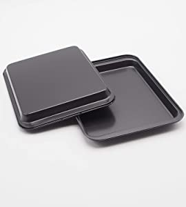 Small Baking Sheet Mini Cookie Sheet 9.5x 7 Inch Pack of 2 Nonstick Heavy Carbon Steel Bakeware for Pizza, Chicken Wings, Bacon, Mini Muffin Cupcakes etc Suit for 1 or 2 People(2pcs small baking pan)