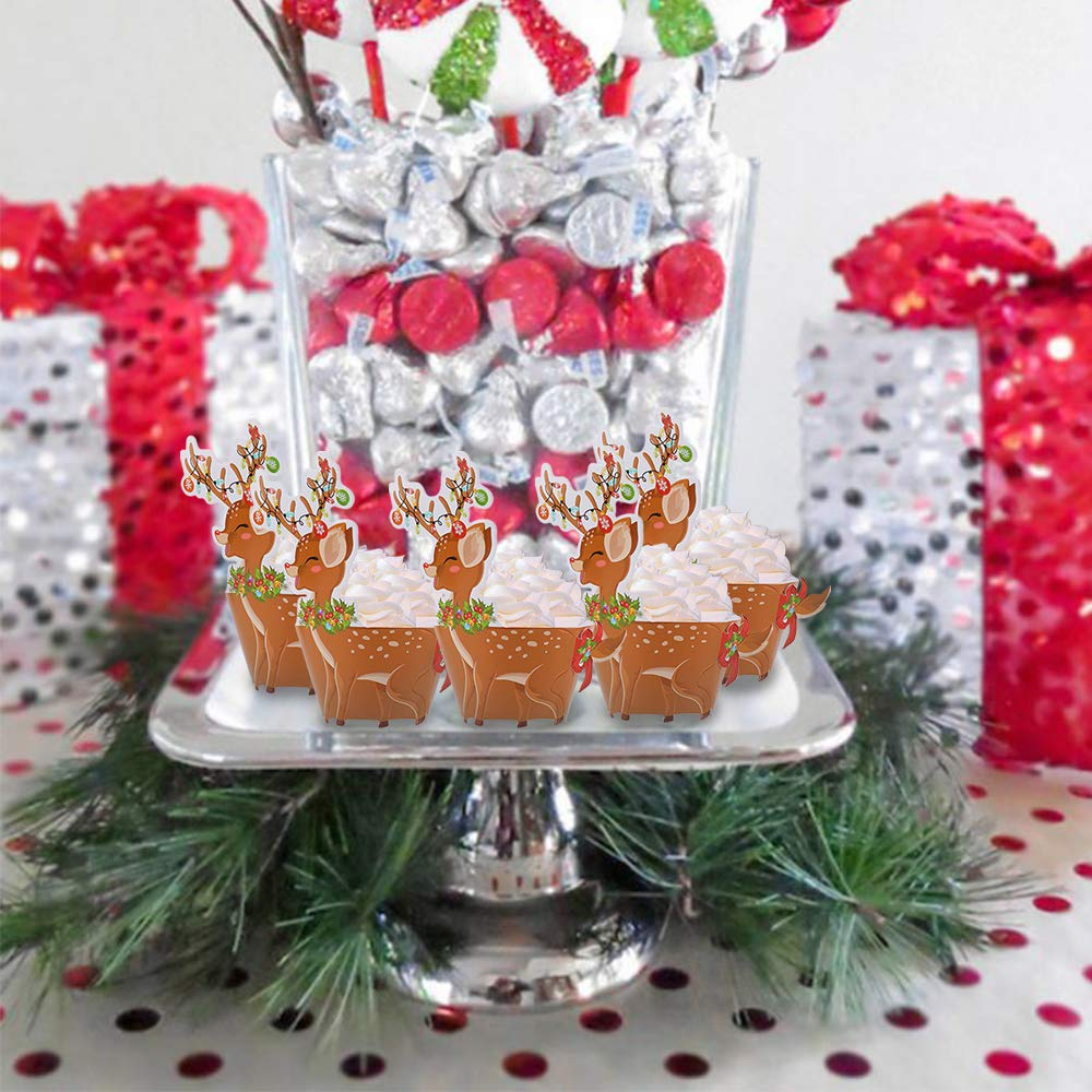 24Pack Konsait Christmas Cupcake Toppers and Wrappers Reindeer Cupcake Toppers Deer Cake Decorations Supplies for Kids Christmas Woodland Birthday Party Decor Favors Supplies