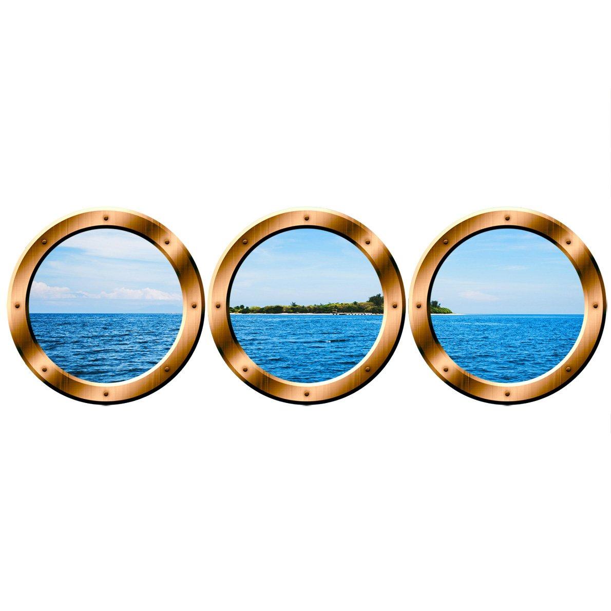 VWAQ Scenic Ocean Sticker/PORTHOLES - Tropical Island Wall Decor SPW4 (20'' Variation, Bronze)