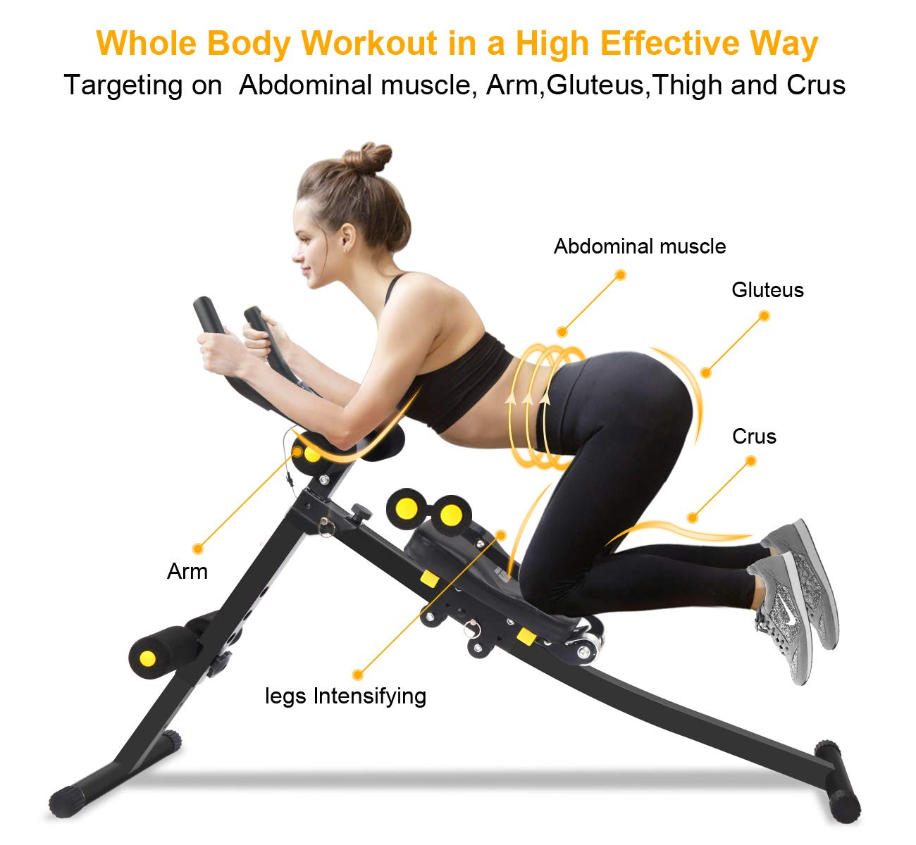 1210db48274cb IDEER LIFE Core&Abdominal Trainers Abdominal Workout Machine,Whole Body  Workout Equipment for Leg,Thighs,Buttocks,Rodeo,Height Adjustable Sit-up ...