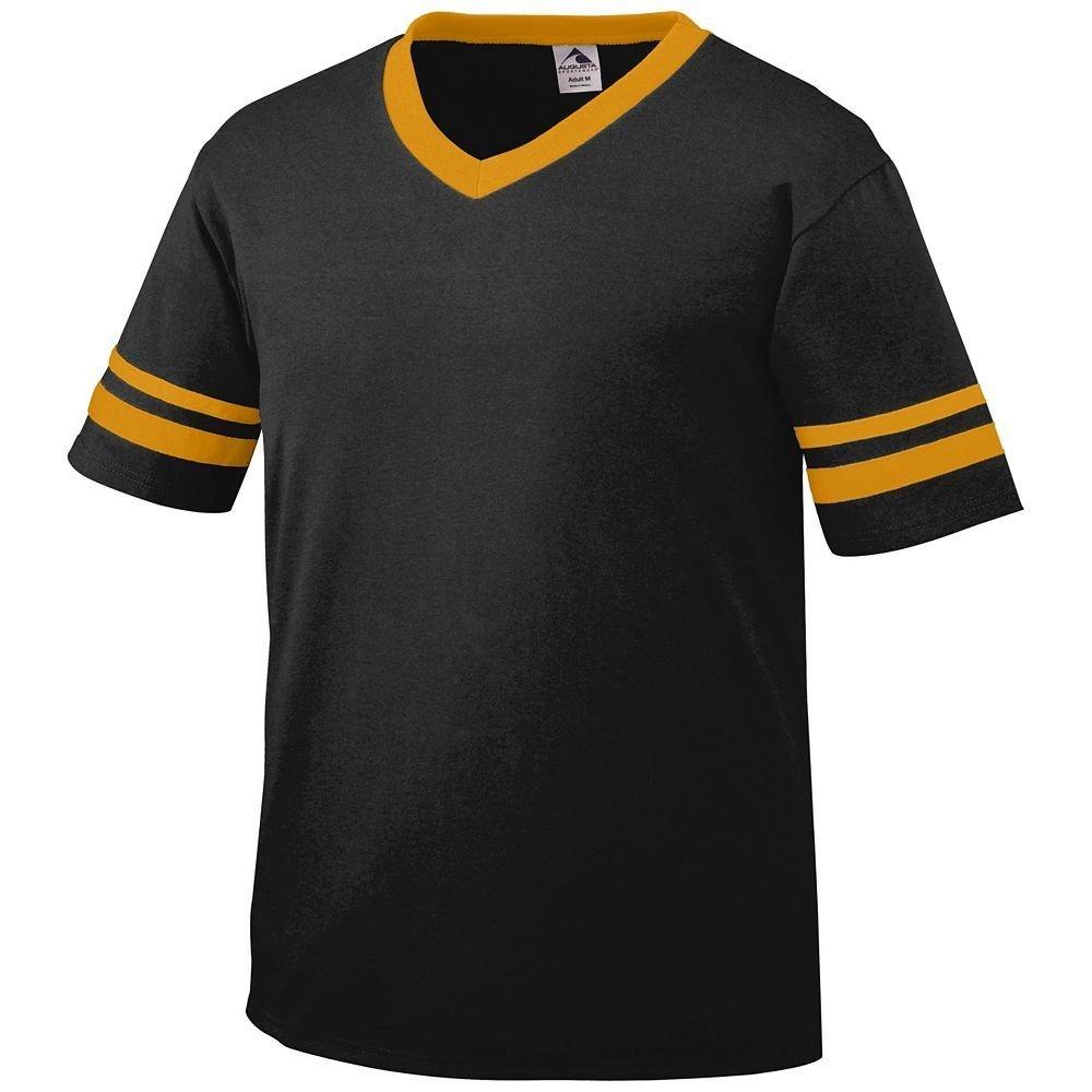 Augusta Sportswear Sleeve Stripe Jersey – Boys ' B003WXZ74G Large|ブラック/ゴールド ブラック/ゴールド Large