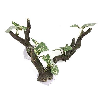 uxcell Green Brown Resin Tree Root Vine Terrarium Aquarium Landscape Decor for Reptiles