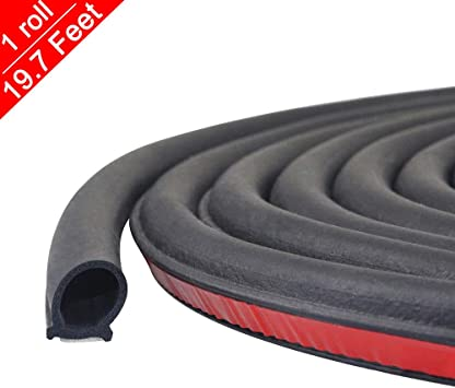 19.7 Ft Weather Stripping Seal Strip for Doors//Windows,Self-Adhesive Rubber Car Auto Door Sealing Strip Noise Insulation,2//5 Inch Wide X 2//5 Inch Thick D Shape