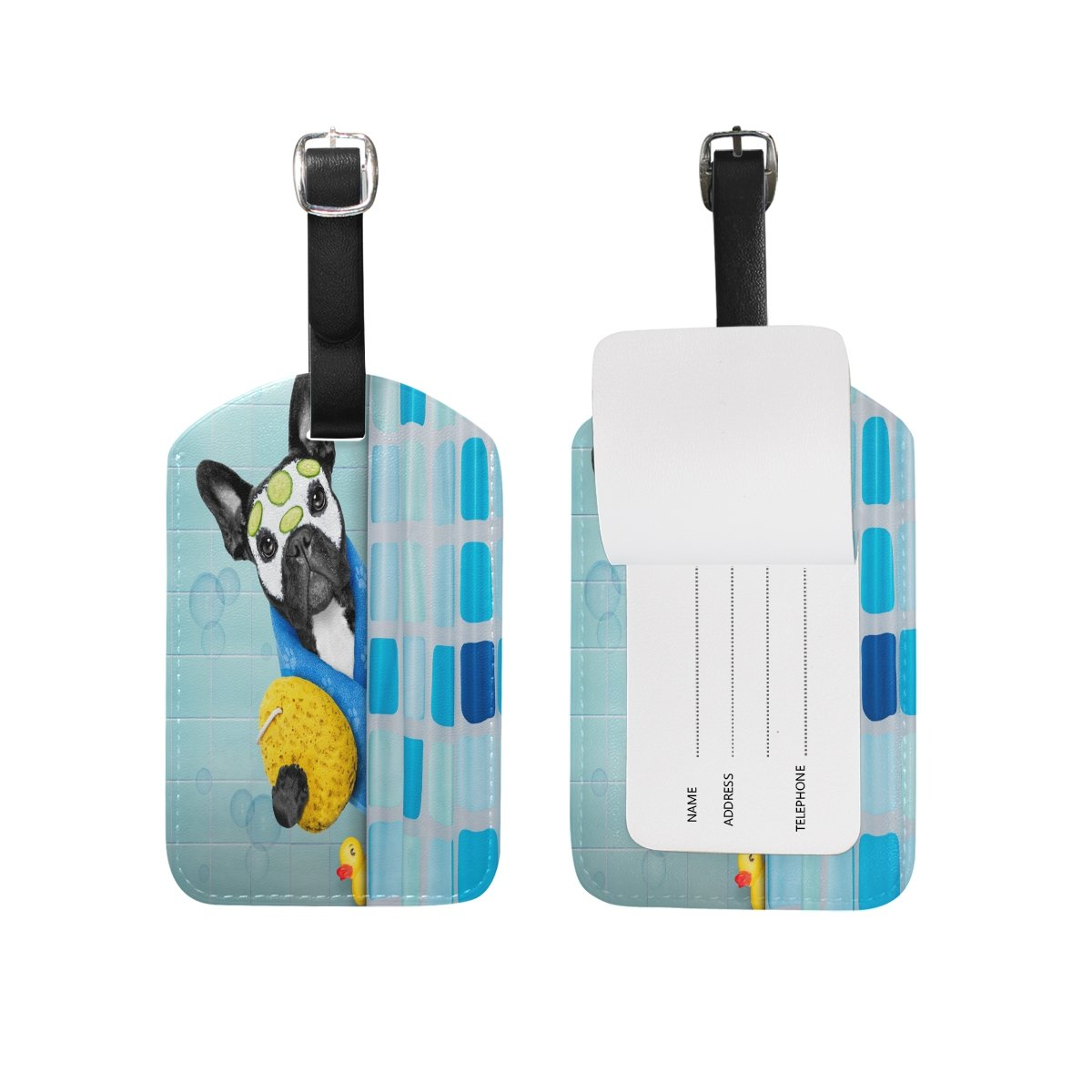 Saobao Travel Luggage Tag Dog In Shower PU Leather Baggage Suitcase Travel ID Bag Tag 1Pcs