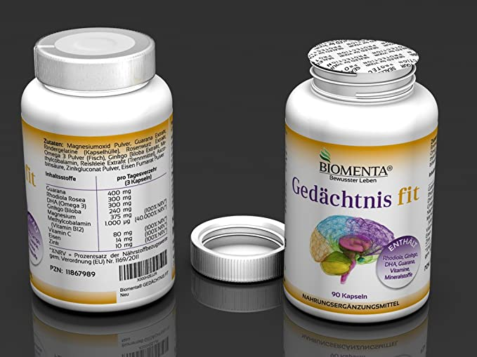 BIOMENTA MEMORIA FIT - con RHODIOLA + GINKGO BILOBA + GUARANA + DHA (Omega 3) + MAGNESIO + VITAMINA B12 (Metilcobalamina) + VITAMINA C + HIERRO + ZINC - 90 ...