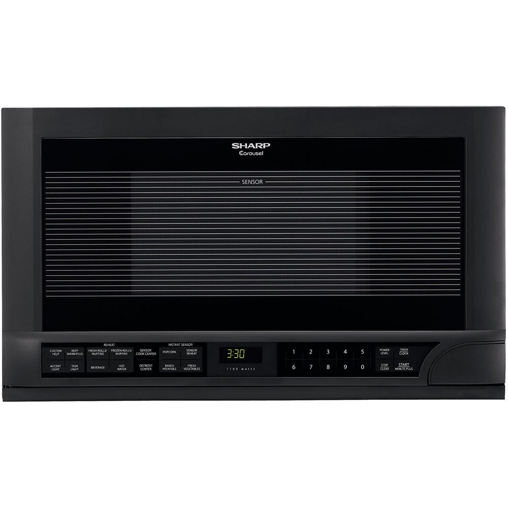 Sharp R-1210 1-1/2-Cubic-Foot 1100-Watt Over-the-Counter Microwave, Black r1210t