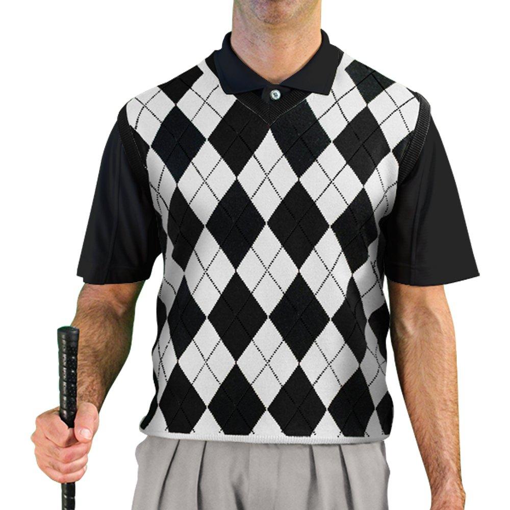 V-Neck Argyle Golf Sweater Vests - GolfKnickers: Mens - Pullover - Black/White - Large