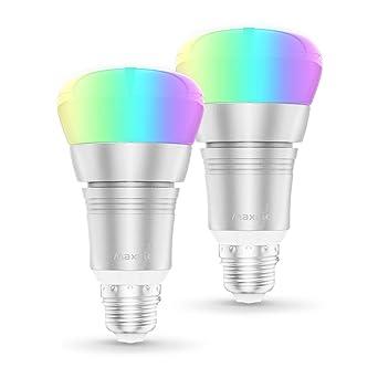 Bombilla WiFi, Maxcio Bombilla Inteligente de Multicolor con Intensidad Regulable, 8 Modos de Escena