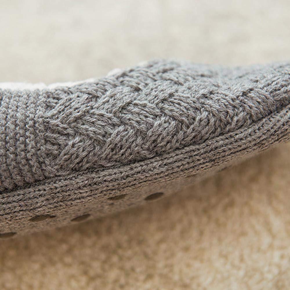 VJGOAL Mujer invierno moda casual color sólido Antideslizante Calcetines de piso Cálidos calcetines de lana Punto y terciopelo de silicona gruesa calcetines ...