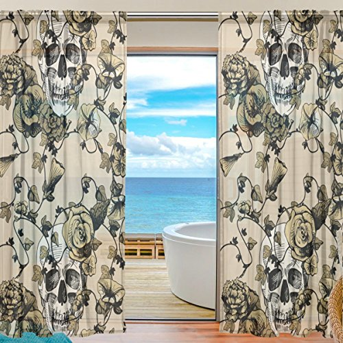 Dead Teen Grateful Hoodie Bear Purple Costumes (Sugar Skull Dia De Los Muertos Window Sheer Curtain Panels, 2 PCS 55x84 inch, Gauze Curtain for Living Room Bedroom Home)