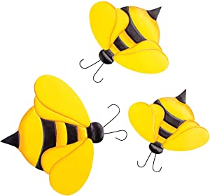 Metal Bumblebee Décor Hangers, Set of 3 by Fox River Creations