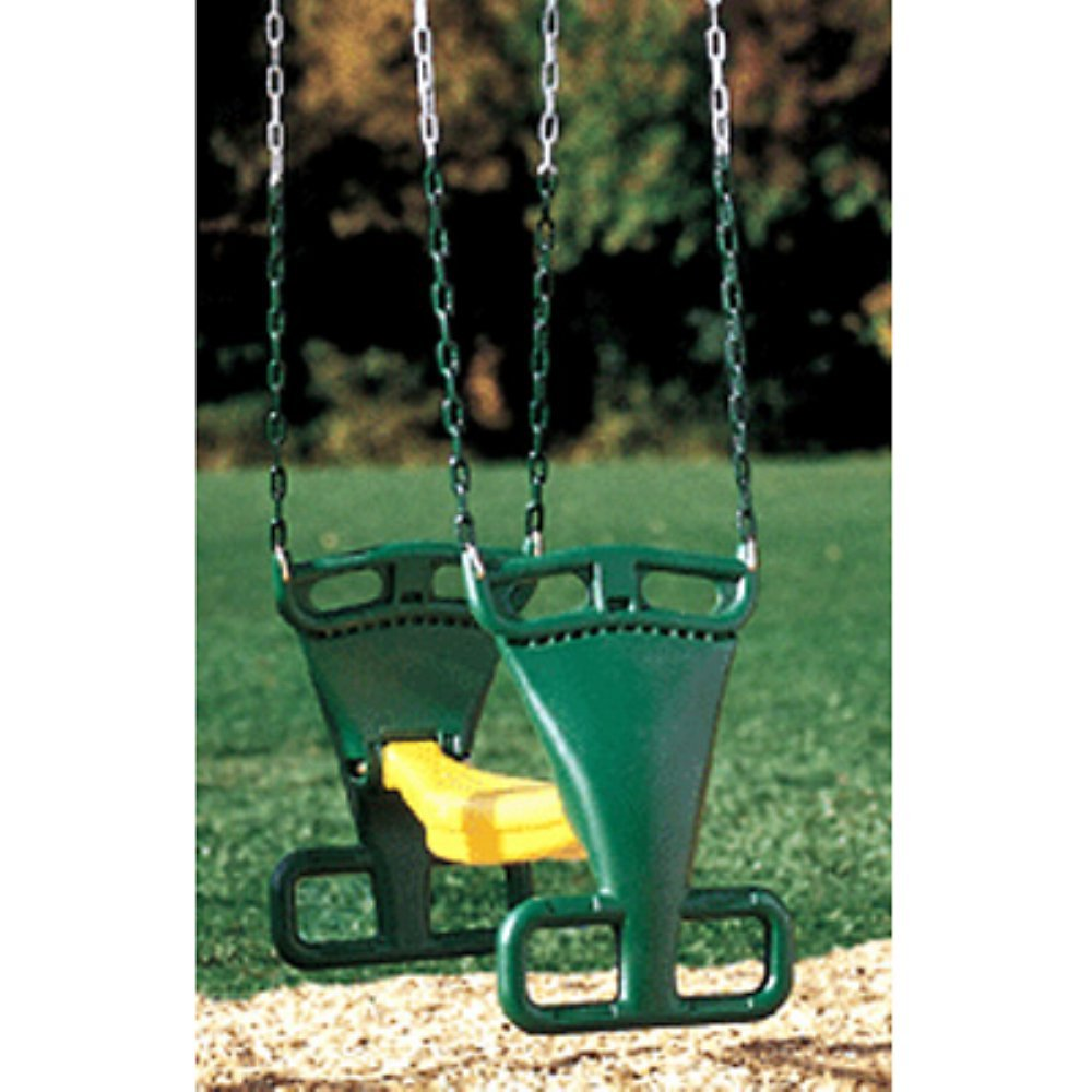 Kidwise Molded Back to Back Glider with Chains- Green/Yellow Kidwise Outdoor Products Inc KWS186