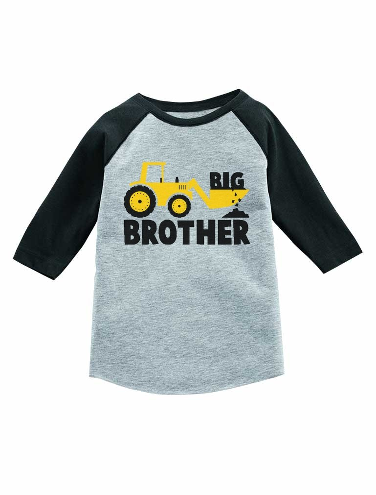 Big Brother Gift for Tractor Loving Boy 3/4 Sleeve Baseball Jersey Toddler Shirt 2T Dark Gray by Tstars