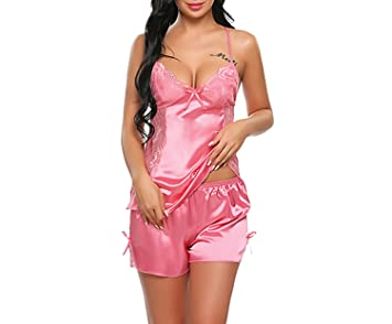 2ed26d101 Image Unavailable. Image not available for. Color  Brand Sexy Sleepwear  Women Cloth Summer Shorts Sexy Satin Lingerie Nightgown Strap Pajamas ...