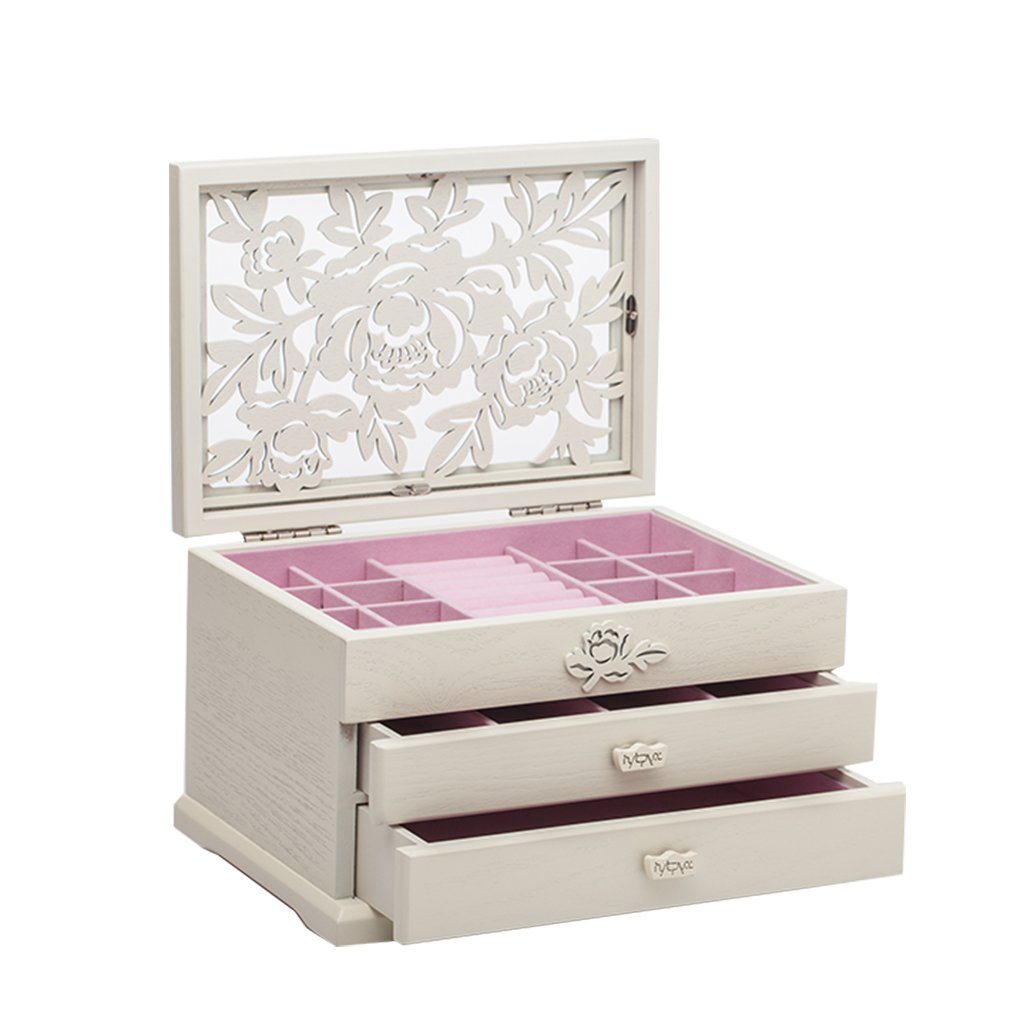 Peony Carved 3 Layer Wooden Jewelry Box White LTD HYT-7191N