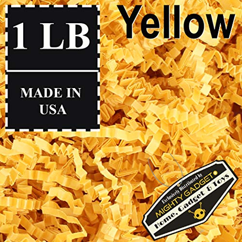 Mighty Gadget (R) 1 LB Yellow Crinkle Cut Paper Shred Filler for Gift Wrapping & Basket Filling]()