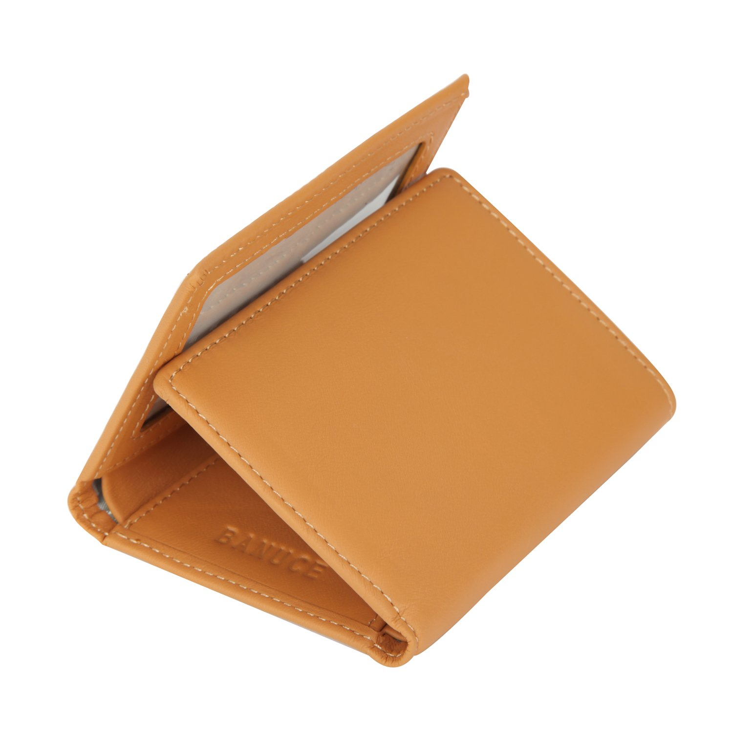 Banuce Women's Full Grains Genuine Leather Slim Small Item Trifold Wallet Color Light Brown by Banuce (Image #1)