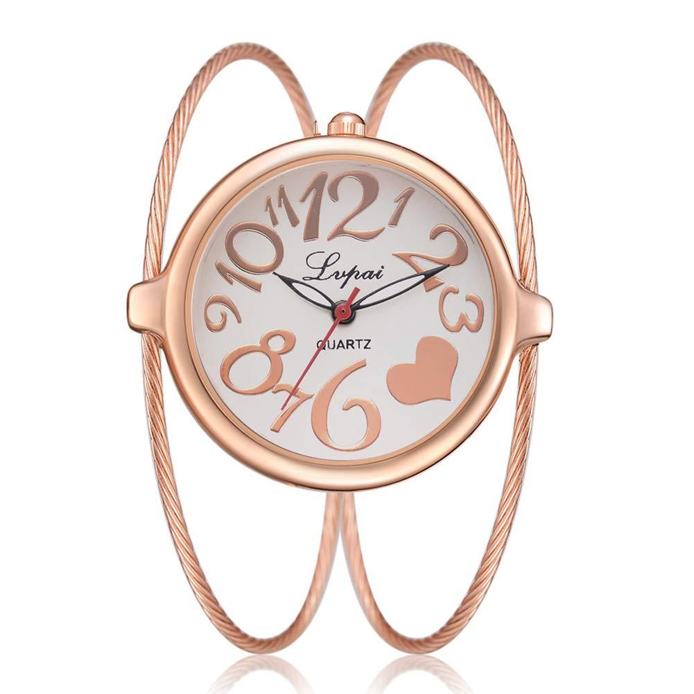 yanbirdfx Fashion Women Big Round Dial Heart Open Bangle Double Layer Quartz Wrist Watch - Rose Gold + White