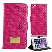 iPhone 6 Case, iPhone 6 4.7 Handmade Leather Case, RUBYMK [Luxury Fashion] [Stand Function] with Credit Card Slots Flip Cover Folio Magnetic Case Stand Leather For iPhone 6 4.7 - hot pink
