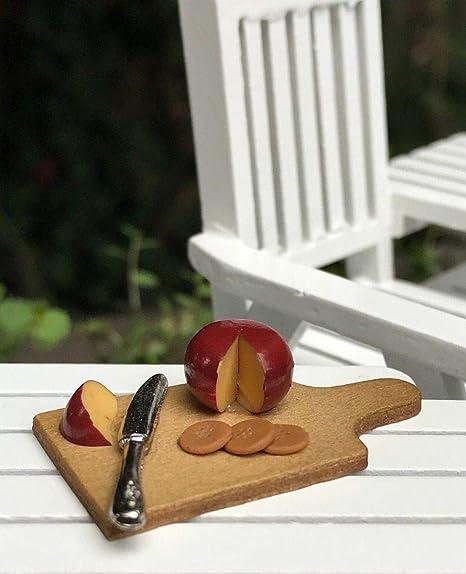 Miniature Dollhouse FAIRY GARDEN Accessories ~ Cutting Board w Cheese /& Crackers