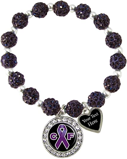 Custom Cystic Fibrosis Awareness Purple Bling Bracelet Jewelry Choose Initial