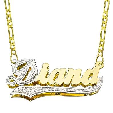472c33a10585 14 K dos Tono Oro personalizada doble placa 3d nombre collar - estilo 1 -  personalizar cualquier nombre  Amazon.es  Joyería