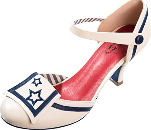 Dancing Days Damen Schuhe Beaufort Spice Sterne Sailor Pumps Creme Geschlossen  36 7f577d0f78