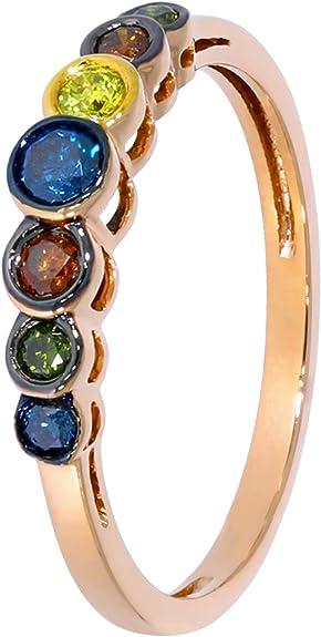Prism Jewel 0.25Ct Blue Yellow Green /& Cognac Multi Color Diamond Designer Ring