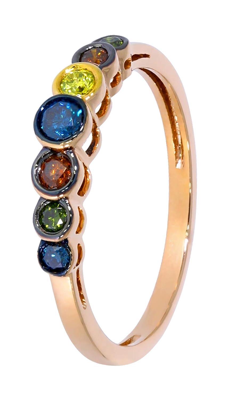 Yellow Prism Jewel 0.25Ct Blue Green /& Cognac Multi Color Diamond Designer Ring