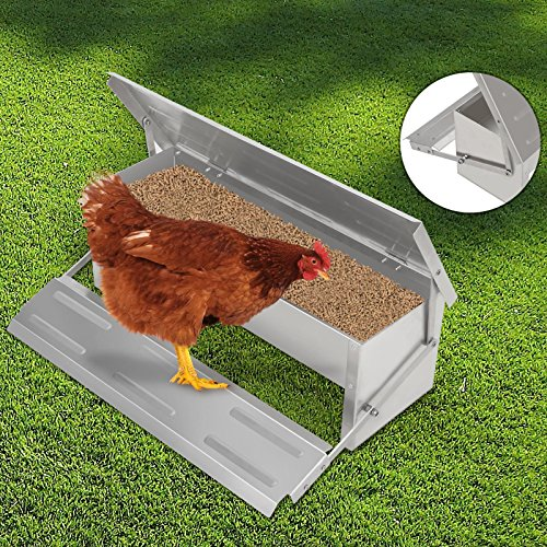 Voilamart Automatic Chicken Chook Poultry Feeder, 11 Pounds of Feed, Aluminum Auto Treadle Self Opening, Container Size 21'L x 7'W x 3.35'H
