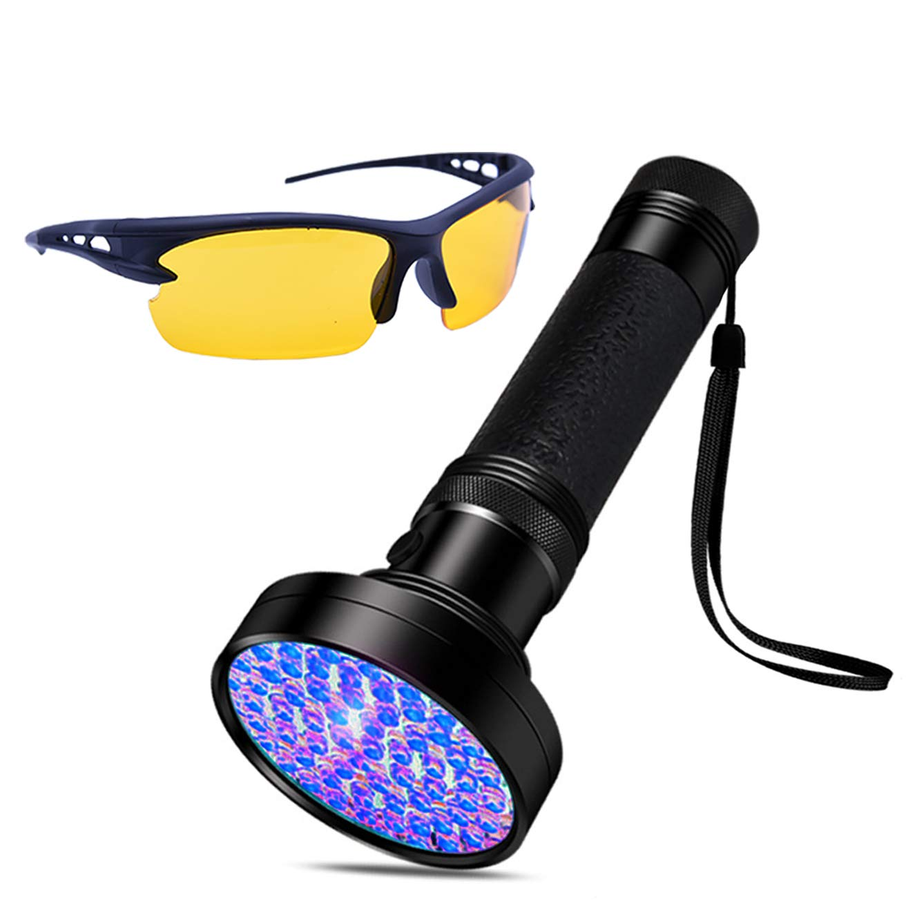 UV Black Light Fashlight 100 LED Handheld Ultraviolet Blacklight with Safety Glasses for Pet Urine Stains Fluorescent Agent Bed Bug Scorpions Detection by HANZE (Image #1)