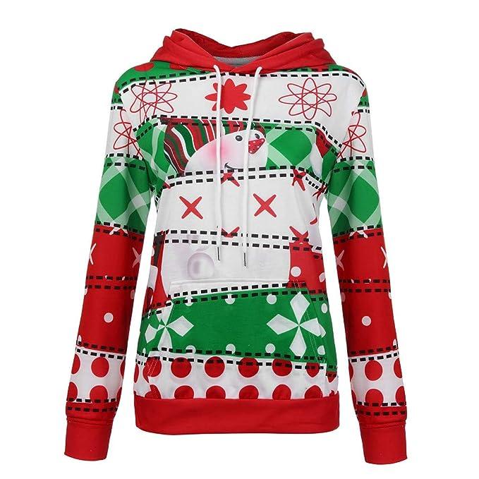 Bestow Camisa de Manga Larga de Navidad para Mujer Sudadera con Capucha y Bolsillo con Capucha