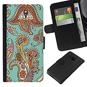 EJOY---La carpeta del tirón la caja de cuero de alta calidad de la PU Caso protector / HTC One M9 / --Diseño floral de la armadura del trullo Oriental