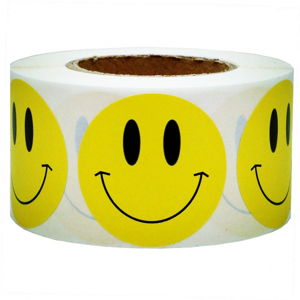 SMARSTICKER Yellow Smiley Face Happy Stickers 2'' Inch Round Circle Teacher Labels 500 Total Smiley Stickers
