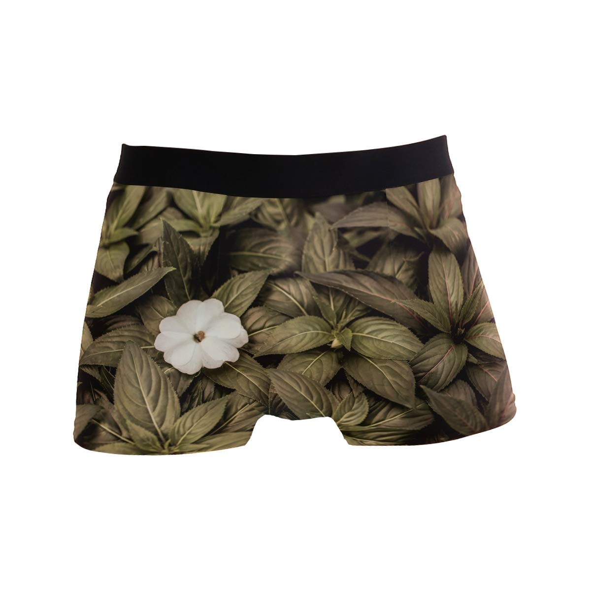 Hipster Unique Nature Lazy Green FlowersBoxer Briefs Mens Underwear Boys Breathable Stretch Low Rise