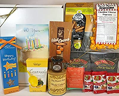 Happy 60th Birthday Gift Box Basket - Send Gourmet Coffees, Teas, Pretzels, Mustard, Fudge Sauce, Cookies, Hot Cocoa, Candy, Popcorn, and Nuts - Prime Happy Birthday 60 Men Women