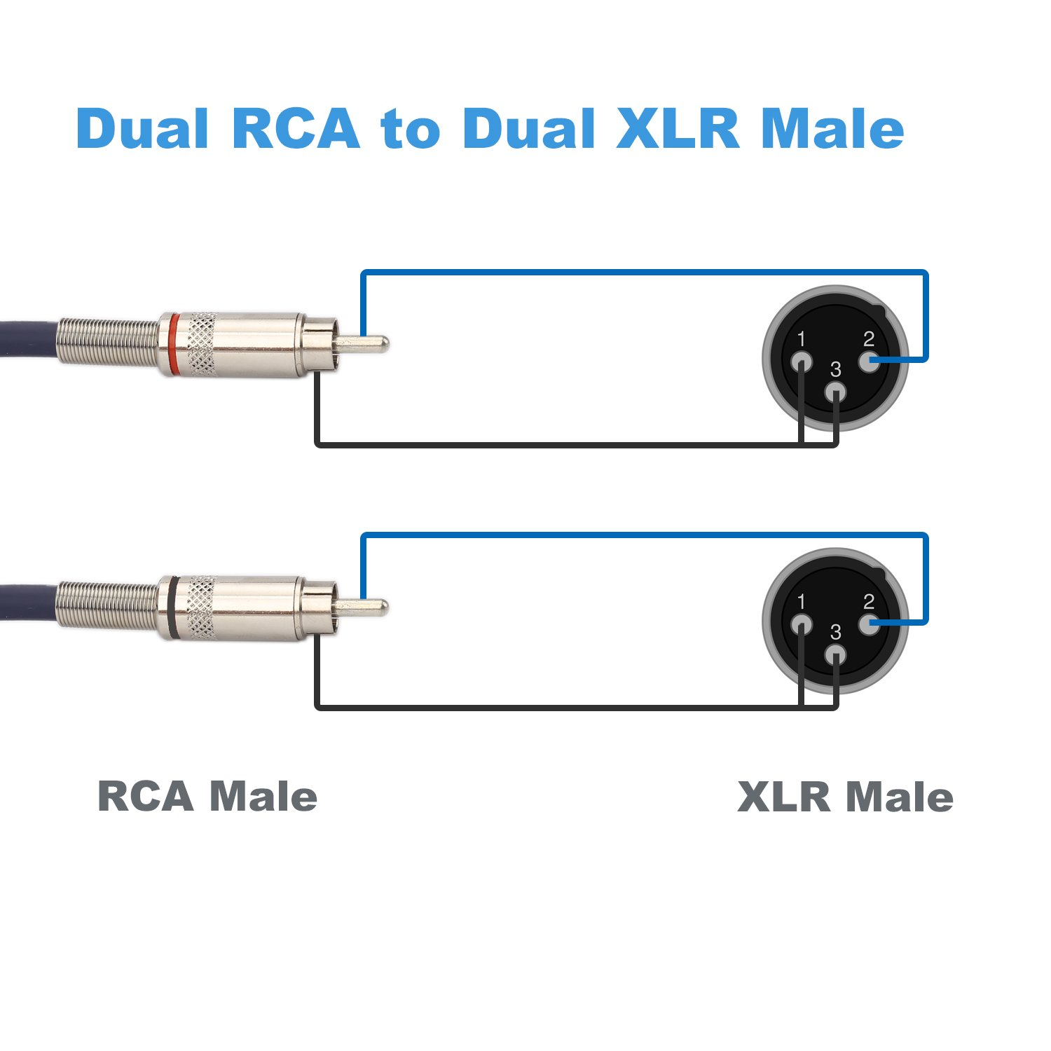 Jolgoo Dual Xlr Male To Rca Cable 2 Wiring Hifi Audio 4n Ofc Wire For Amplifier Mixer Microphone