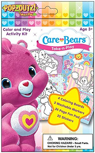 Take N Play Color and Play Activity Kit with 3 Washable Markers 4 Coloring Boards and 24 Page Fun Activity Pad 25 Stickers Care Bears POP OUTZ