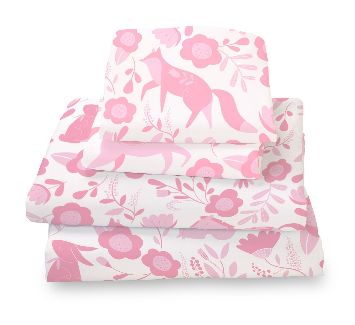 Queen Sheet Set Pink Folk Animals - Double Brushed Ultra Microfiber Luxury Bedding Set