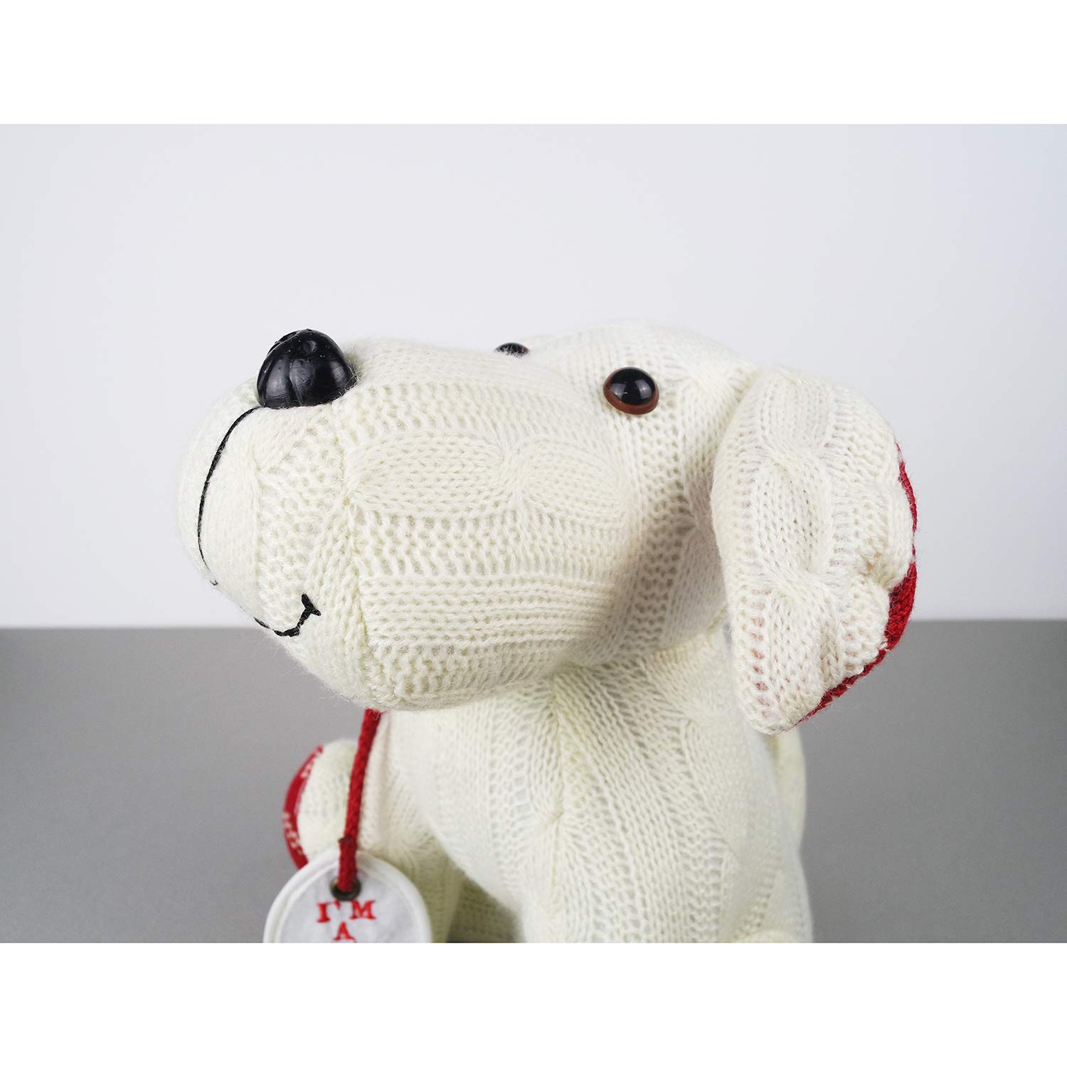 Stuffed Animal White Dog Door Stopper 1.73lb Home Decor Cable Knit Pattern by dwelling (Image #3)