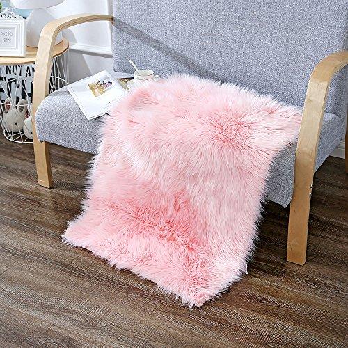 Pink Shag Rug (Rectangle Sheepskin Rug Supersoft Fluffy Area Rug Shag Rug Floor Mat Carpet Decoration (2 ft x 3 ft, Pink))
