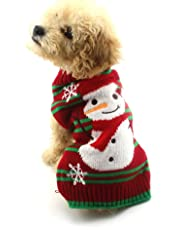NACOCO Dog Snow Sweaters Snowman Sweaters Dog Sweaters New Year Christmas Sweater Pet Clothes for Small Dog and Cat (Snowman, Large)