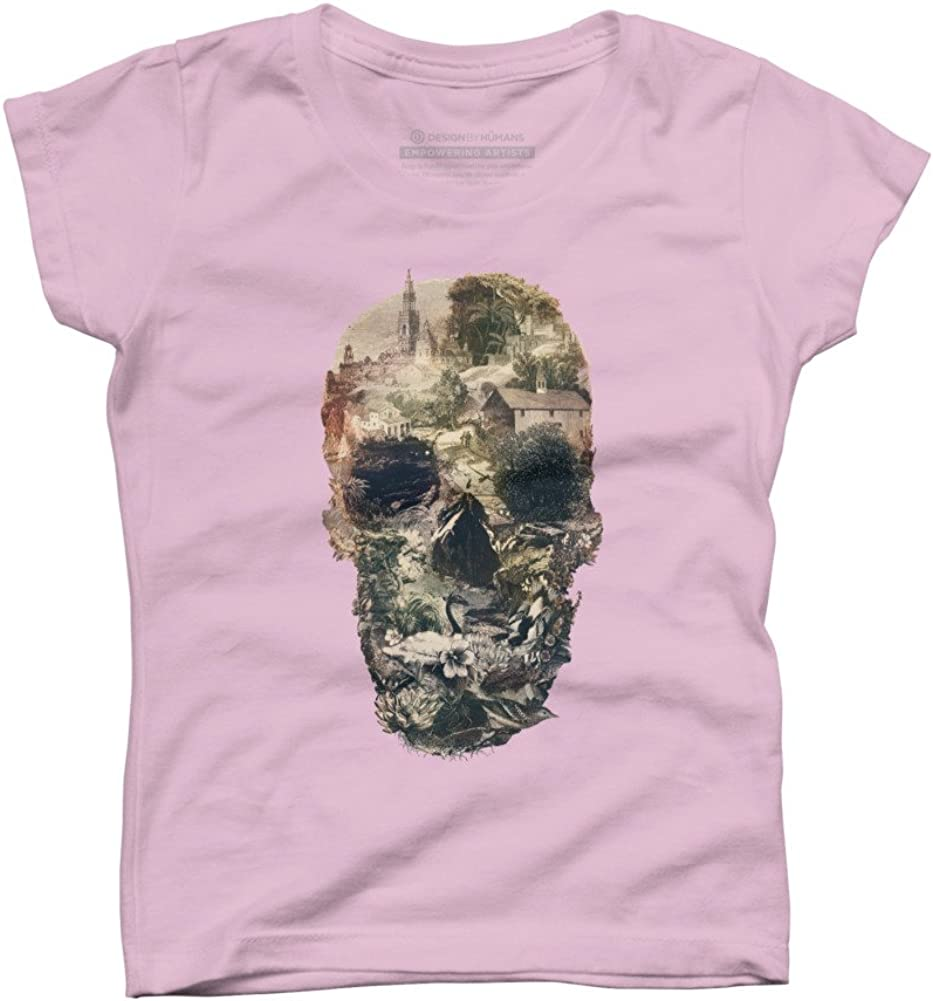 Design By Humans Town Skull Girls Youth Graphic T Shirt