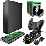 Kit de acessários TMG OIVO para Xbox One X. 4 em 1 Xbox One X com suporte de resfriamento vertical com estação de carregament