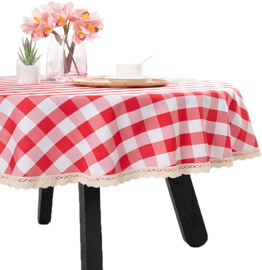 Nobildonna 70Inch Gingham Checkered Tablecloth, Red & White Checker, Round Lace Polyester Tablecloth