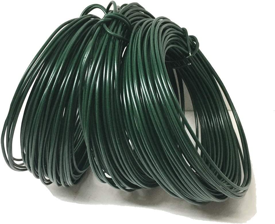 Sweet Online Deal 45M (147 Foot) Garden Wire Dark Green Coated Plant Twist Tie Garden Plant Training Wire
