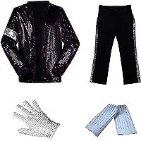 CIGUO Adult Child MJ Michael Jackson Jackets Billie Jean Jacket Suit Dance Cosplay Jackson Costume Set Full Size