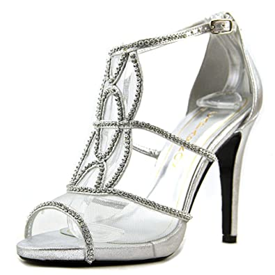 Caparros Womens Ellen Open Toe Special Occasion Ankle Strap Silver Size 50 tY